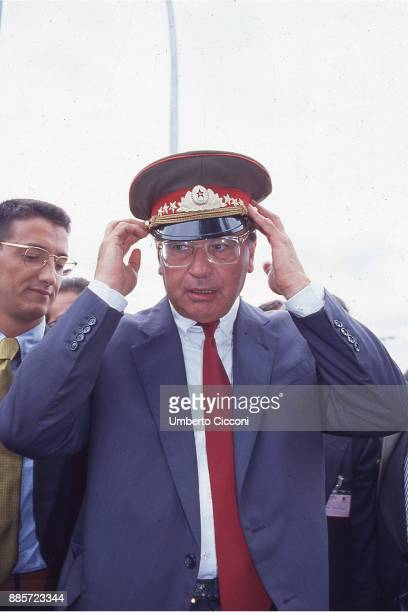 Politician Bettino Craxi wears a soviet hat after the fall of the Berlin Wall Berlin 1989