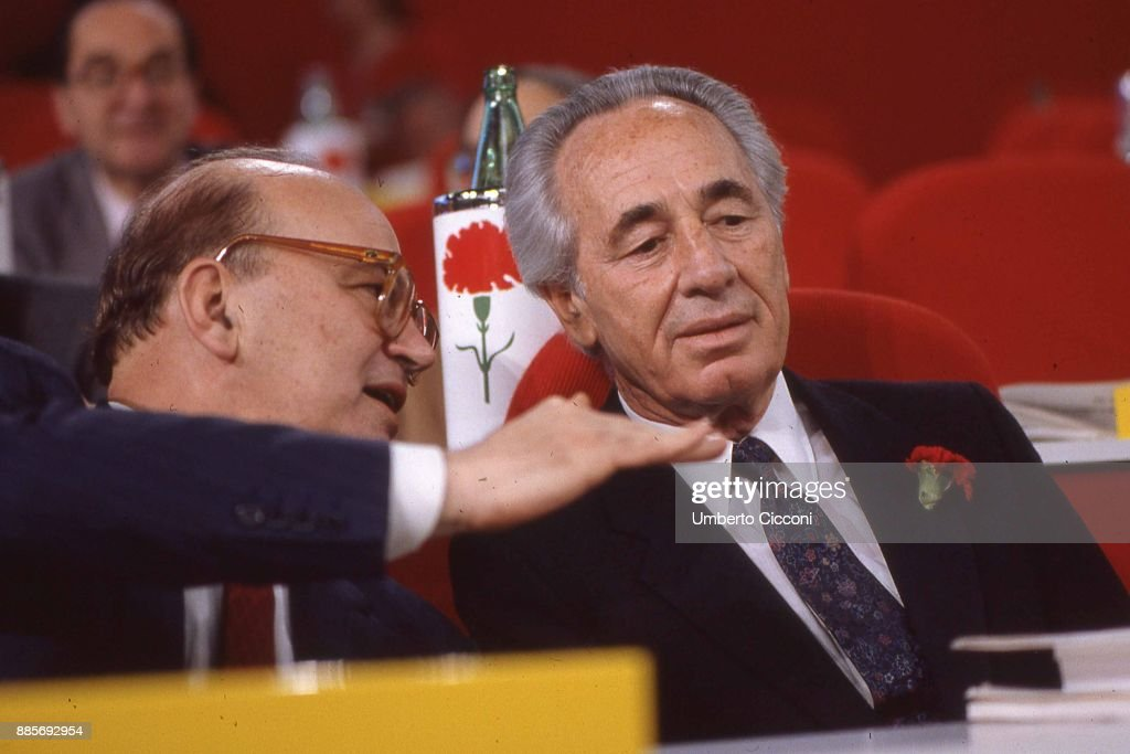 Politician Bettino Craxi with Israeli politician Shimon Peres at the socialist party conference, Italy 1989.