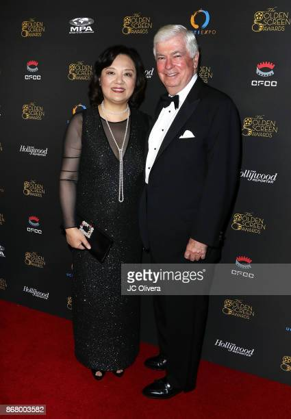 Politician Chris Dodd and UCFTI CEO Bianca Chen attend the 2nd Annual Golden Screen Awards hosted by US China Film and TV Industry Expo at The Novo...