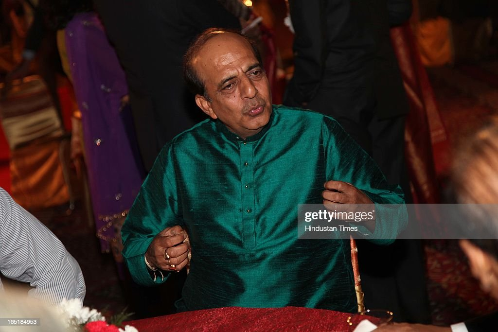 Politician Dinesh Trivedi at the wedding reception of educationist Dr SB Mujumdar's grandson Ameya Yeravdekar and Swati Thorat at Delhi Gymkhana on March 22, 2013 in New Delhi, India.