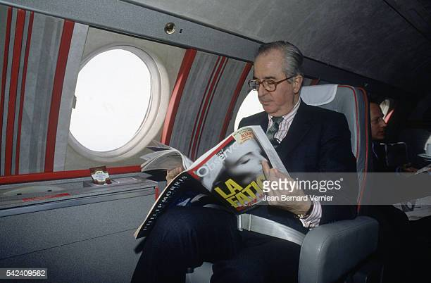 Politician Edouard Balladur travels by plane while on the campaign trail in France Balladur would become prime minister of France from 19931995