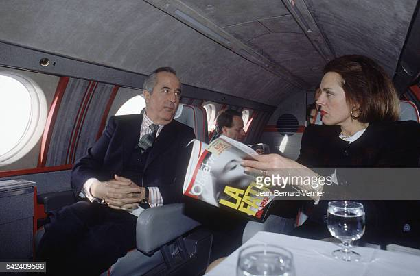 Politician Edouard Balladur travels by plane with his councilors while on the campaign trail in France Balladur would become prime minister of France...