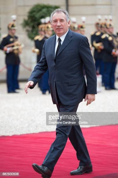 Politician Francois Bayrou arrives at the Elysee Palace prior to the handover ceremony for New French President Emmanuel Macron at Elysee Palace on...