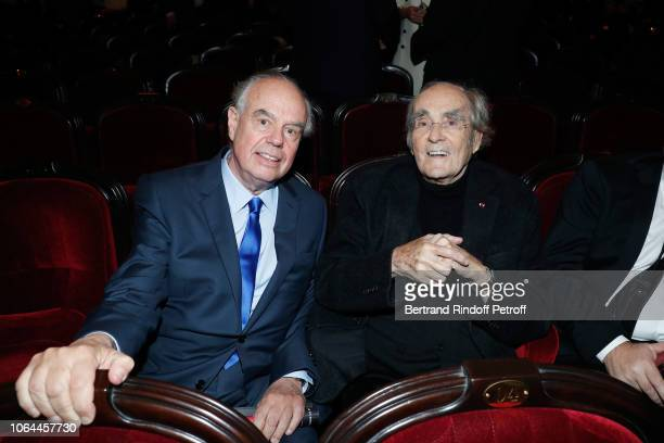 Politician Frederic Mitterrand and Composer of the show Michel Legrand attend the Reopening of The Marigny Theater with the with the Musical Fairy...