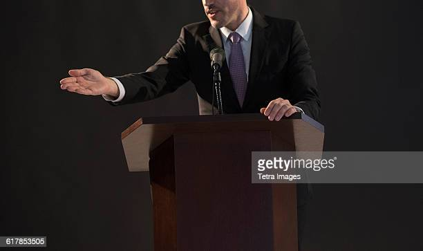 politician giving speech - politics and government stock pictures, royalty-free photos & images