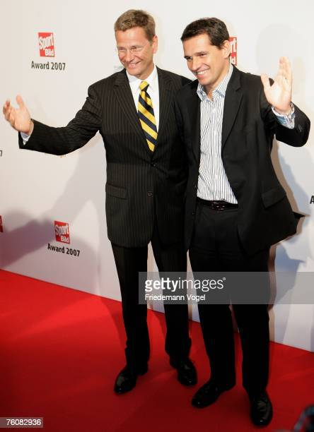 Politician Guido Westerwelle and his partner businessman Michael Mronz attend the Sport Bild Award 2007 at the Elb Lounge on August 13 2007 in...