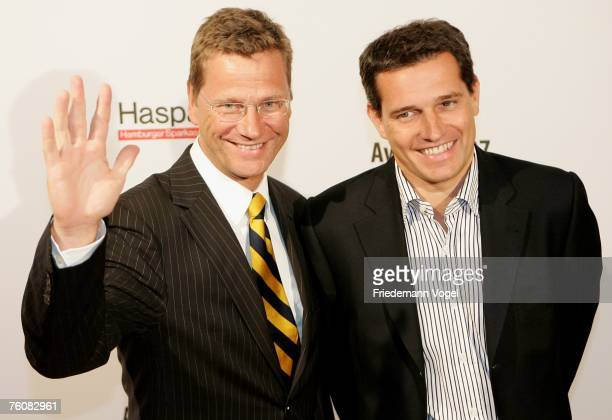 Politician Guido Westerwelle and his partner businessman Michael Mronz attends the Sport Bild Award 2007 at the Elb Lounge August 13 2007 in Hamburg...
