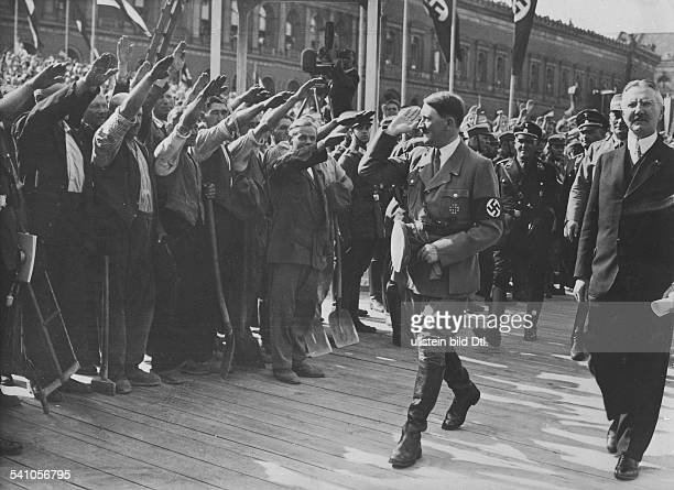 18891945 politician III Reich germanyLaying of the foundation stone of the Reichsbank Berlin Germany 5 May 1934 German Nazi leader Adolf Hitler with...