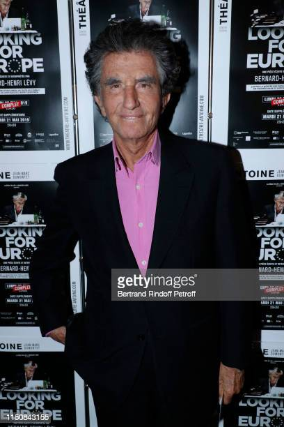 """Politician Jack lang attends Bernard-Henri Levy performs in """"Looking for Europe"""" at Theatre Antoine on May 21, 2019 in Paris, France."""