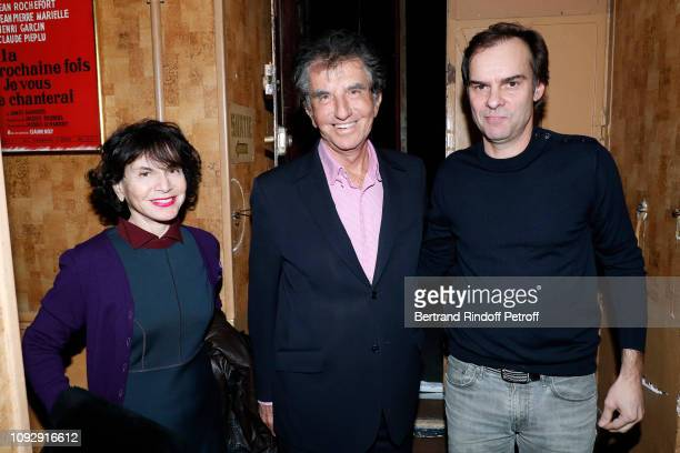 Politician Jack Lang standing between his wife Monique Lang and Autor of the Piece Sebastien Thiery attend the Huit Euros de l'heure Theater Play at...