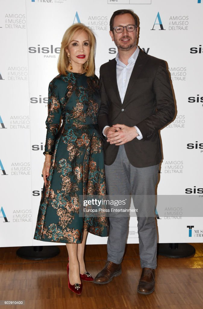 Politician Javier Maroto and Carmen Lomana attend the 'El armario de Carmen Lomana' opening exhibition at Costume museum on February 21, 2018 in Madrid, Spain.