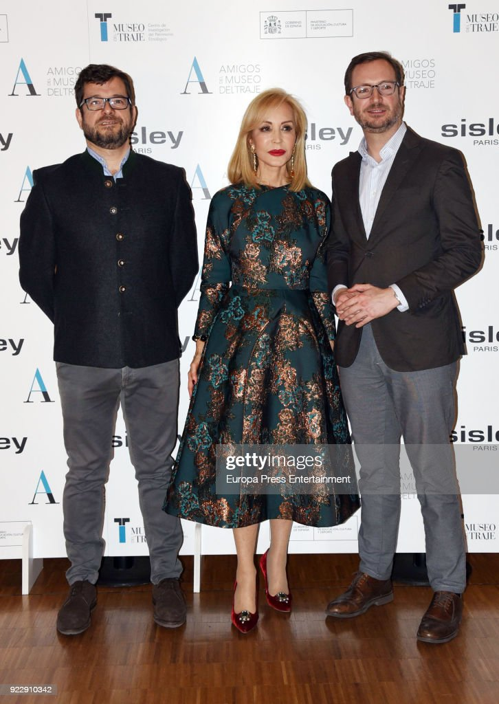 Politician Javier Maroto (R), his husband Josema Rodriguez and Carmen Lomana attend the 'El armario de Carmen Lomana' opening exhibition at Costume museum on February 21, 2018 in Madrid, Spain.