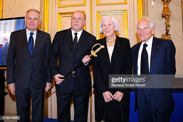 Politician JeanMarc Ayrault Marc Lambron President of the sword Committee Miss Claude Levi and Academician Jean d'Ormesson attend writer Marc Lambron...