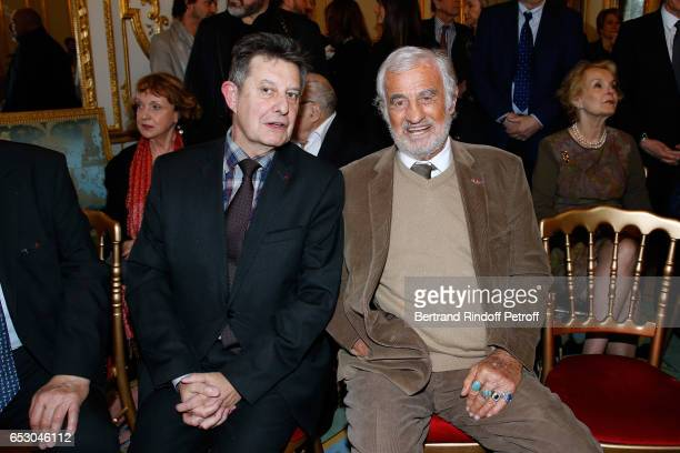 Politician JeanPierre Jouyet and actor JeanPaul Belmondo attend Claude Brasseur is elevated to the rank of 'Officier de la Legion d'Honneur' at...