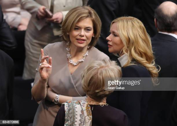 Politician Julia Klockner and actress Veronica Ferres attend the election of the new president of Germany by the Federal Assembly at the Reichstag on...