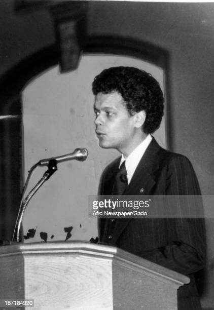 Politician Julian Bond speaks early in his career, 1970.