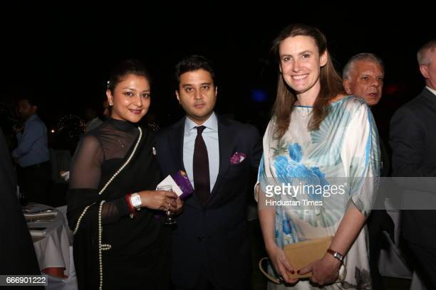 Politician Jyotiraditya Scindia with his wife Priyadarshini Scindia during the Good France 2017 annual dinner hosted by French Ambassador Alexandre...