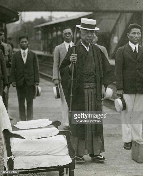 Politician Kinmochi Saionji is seen at Okitsu Station on July 7, 1935 in Okitsu, Shizuoka, Japan. Saionji was two times Prime Minister of Japan, 12th...