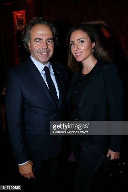 Politician Luc Chatel and Mahnaz Hatami attend the Reopening of the Hotel Barriere Le Fouquet's Paris decorated by Jacques Garcia at Hotel Barriere...