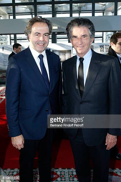 Politician Luc Chatel and President of the 'Institut du Monde Arabe' Jack Lang attend King Mohammed VI of Morocco and French President Francois...
