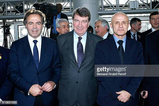 Politician Luc Chatel French Academician Xavier Darcos and Olivier Poivre d'Arvor attend King Mohammed VI of Morocco and French President Francois...