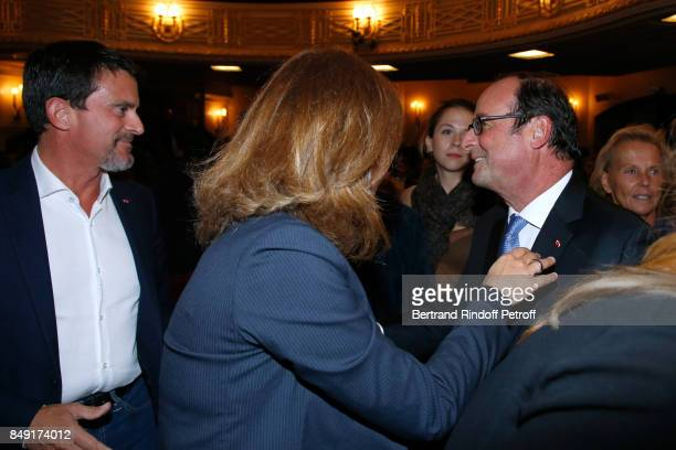 Politician Manuel Valls his wife violonist Anne Gravoin and former French President Francois Hollande attend 'La vraie vie' Theater Play at Theatre...