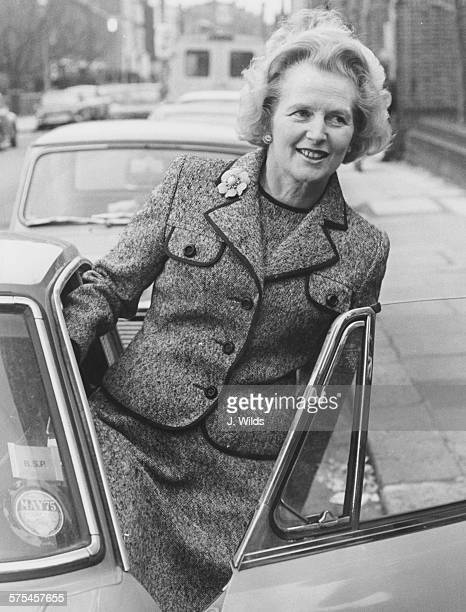 Politician Margaret Thatcher a candidate in the current elections for leadership of the Conservative Party getting in to her car at her Chelsea home...