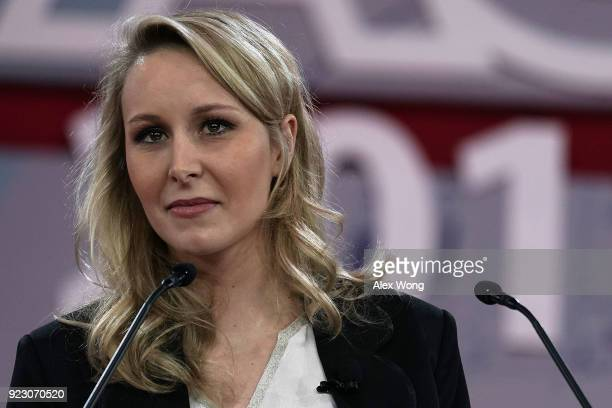 Politician Marion MarechalLe Pen of French National Front party and a former member of the French National Assembly speaks during CPAC 2018 February...