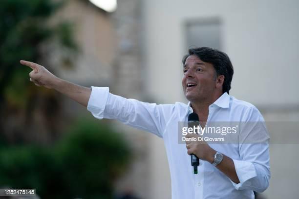 """Politician Matteo Renzi speaks during the presentation of his book """"La mossa del cavallo"""" on June 25, 2020 in Teramo, Italy. Matteo Renzi served as..."""