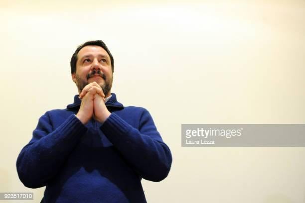 Politician Matteo Salvini, leader of the Lega Nord Party attends a political rally on February 23, 2018 in Livorno, Italy. Matteo Salvini is one of...