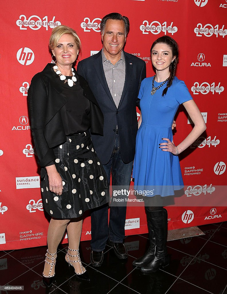 Politician Mitt Romney (C) with wife Ann Romney and granddaughter Allie Romney attend 'Mitt' Premiere for the 2014 Sundance Film Festival at Rose Wagner Performing Arts Center on January 17, 2014 in Salt Lake City, Utah.