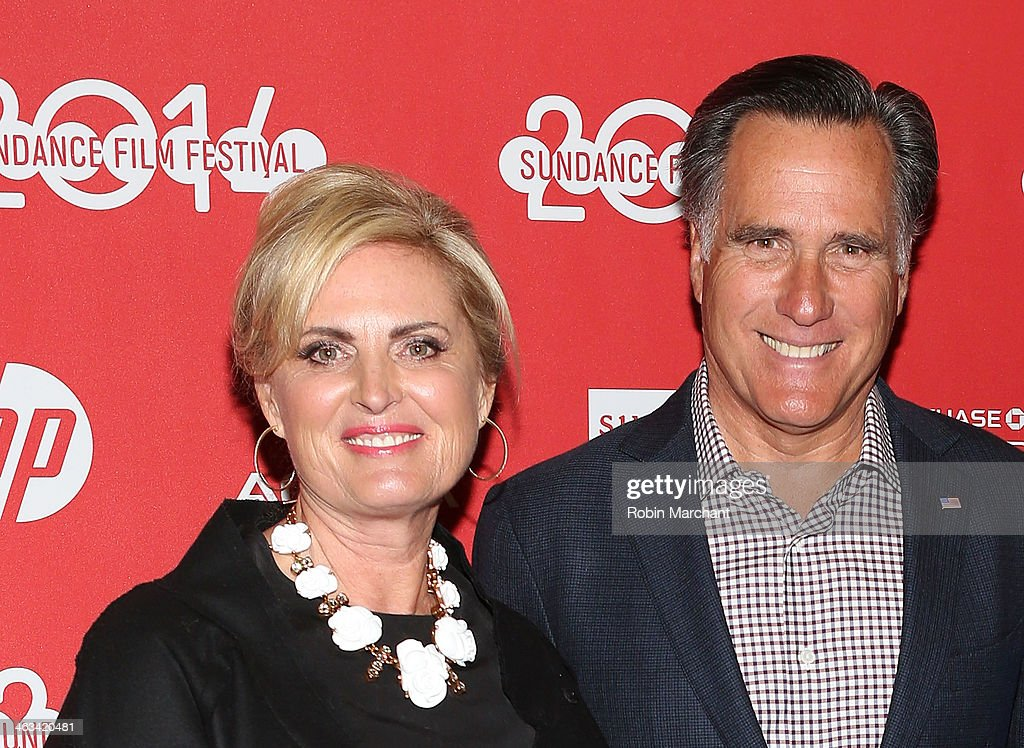 Politician Mitt Romney (R) with wife Ann Romney attend 'Mitt' Premiere during 2014 Sundance Film Festival at Rose Wagner Performing Arts Center on January 17, 2014 in Salt Lake City, Utah.