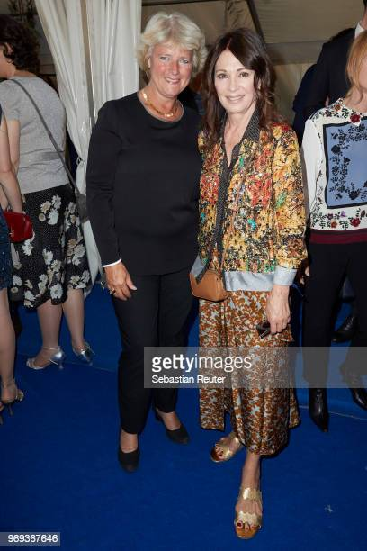 Politician Monika Gruetters and actress Iris Berben attend the summer party 2018 of the German Producers Alliance on June 7 2018 in Berlin Germany