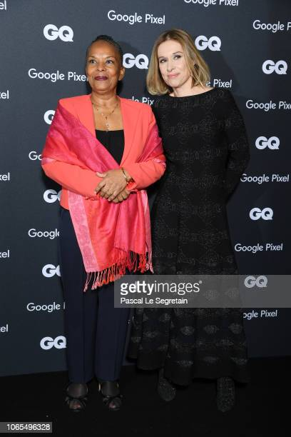 Politician of the decade Christiane Taubira and GQ France Editorinchief Beline Dolat and her husband attends GQ Men Of The Year Awards 2018 at Centre...