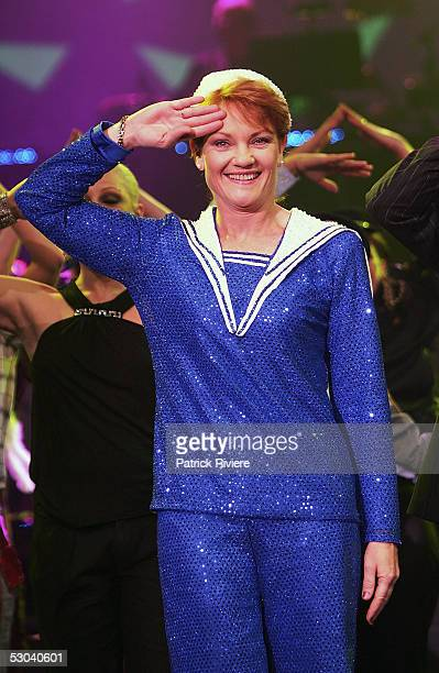 Politician Pauline Hanson performs during a photo call to promote 'Todd McKenney Live' at the Star City Showroom on June 09 2005 in Sydney Australia