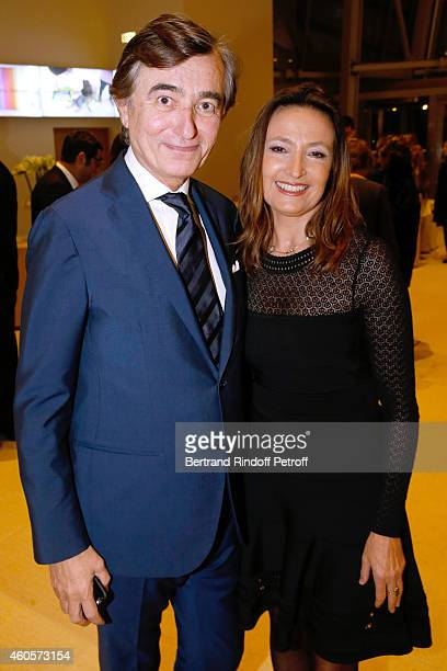 Politician Philippe DousteBlazy and Marie Laure Bec attend the 'Fondation Claude Pompidou' Charity Party at Fondation Louis Vuitton on December 16...