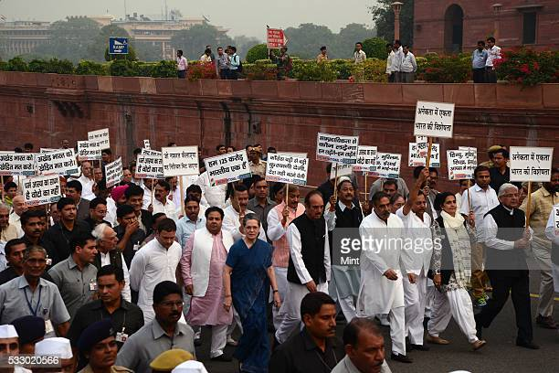 Politician Rahul Gandhi along with Sonia Gandhi and other prominent leaders of Congress party going to the president's house while marching against...