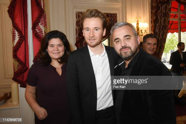 "Politician Raquel Garrido, Bastien Kossek and Alexis Corbiere attend ""Sardou Regards"" Bastien Kossek's Book Launch at Hotel Raphael on April 15, 2019..."