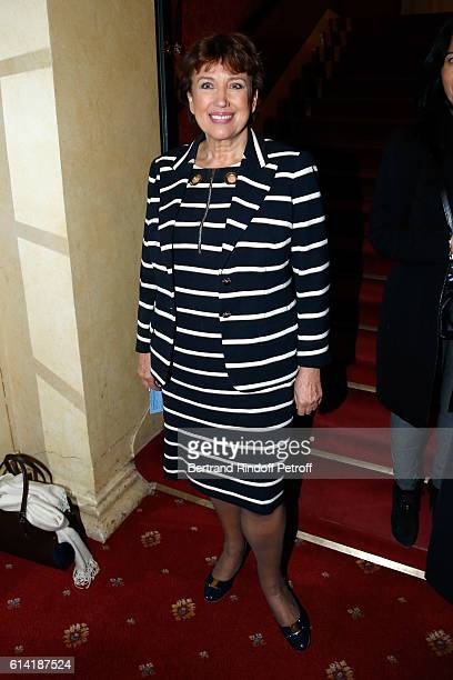 Politician Roselyne Bachelot Narquin attends the 'A Droite A Gauche' Theater Play at Theatre des Varietes on October 12 2016 in Paris France