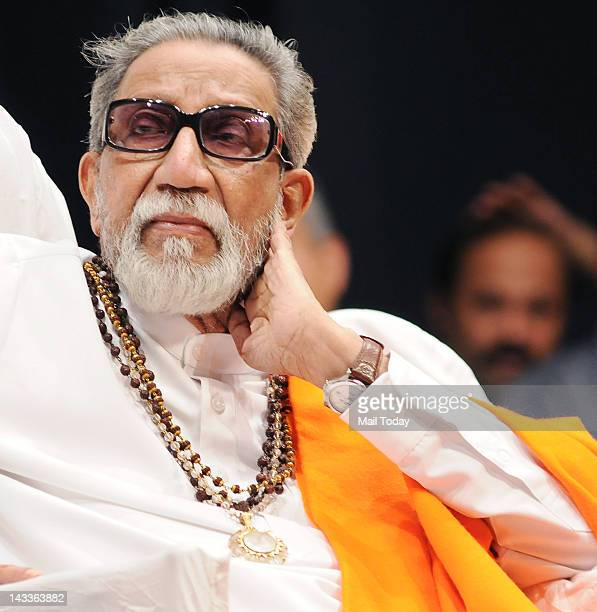 Politician Shiv Sena chief Bal Thackeray during the Deenanath Mangeshkar Puraskar Awards 2012 ceremony in Mumbai on April 24 2012