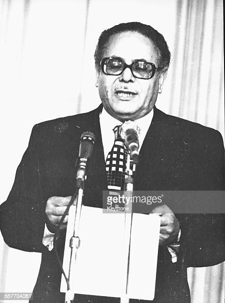 Politician Sufi Abu Taleb interim President of Egypt reading a speech from a piece of paper October 1981