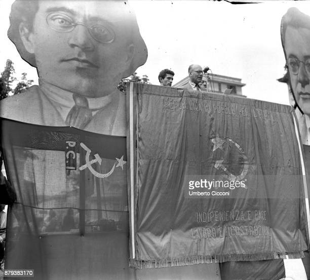 Politician Umberto Terracini at the political meeting against the homicide of Togliatti and for anniversary of the fall of fascism Rome 1948