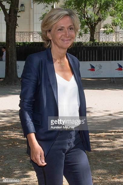 Politician Valerie Pecresse attends a giant picnic organised by Secours Populaire on the Champs de Mars for the charity's 70th anniversary on August...
