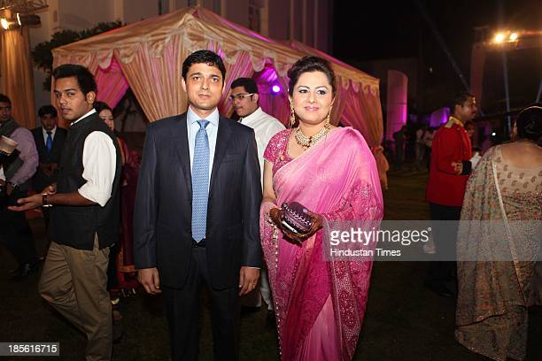 Politician Vani Tripathi and Gurgaon based corporate Hemant Tikoo during their wedding reception party at The Imperial Hotel on October 19 2013 in...