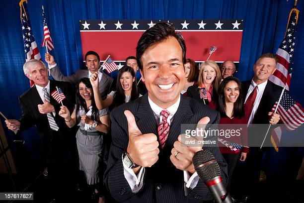 politician victory celebration-thumbs up - politician stock pictures, royalty-free photos & images