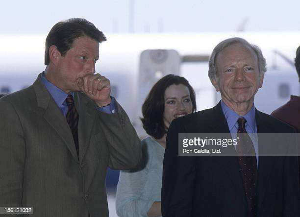 Politicians Al Gore and Joe Lieberman attend the press conference for Democratic National Convention on August 16 2000 in Burbank California