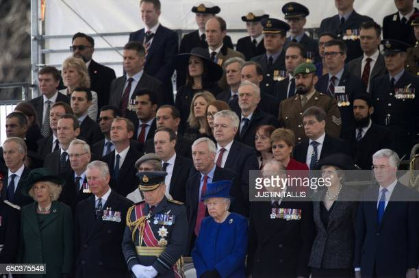 Politicians and dignitaries including Britain's Camilla Duchess of Cornwall Britain's Prince Charles Prince of Wales Air Chief Marshal Sir Stuart...