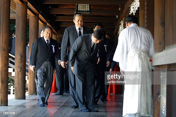 Politicians arrive at the Yasukuni Shrine on August 15 2002 in Tokyo Japan on the 57th anniversary of Japan's surrender to the Allied forces during...