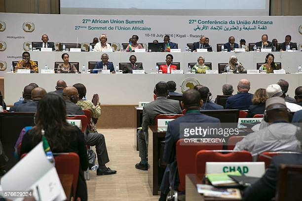 Politicians attend a meeting of the African Union's economic development program New Partnership for Africa's Development on July 162016 at the...