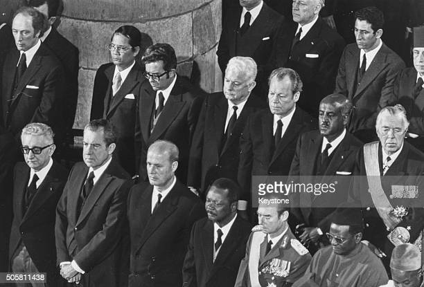 Politicians attending the memorial service of former French President Georges Pompidou including US President Richard Nixon Willy Brandt President...